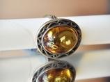 Oksydowany pierścionek z bursztynem