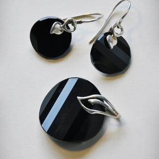 Komplet- czarny kryształ Swarovskiego