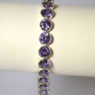 Bransoleta z fioletowym kryształem Swarovskiego