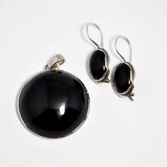 Komplet- czarny agat