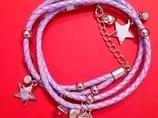 Bransoletka z fioletowych rzemyków